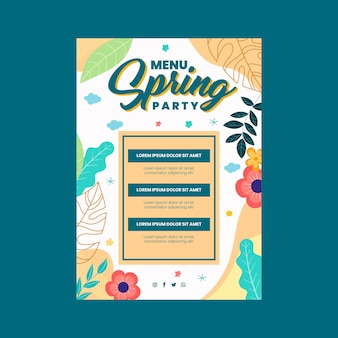 Flat spring party menu template