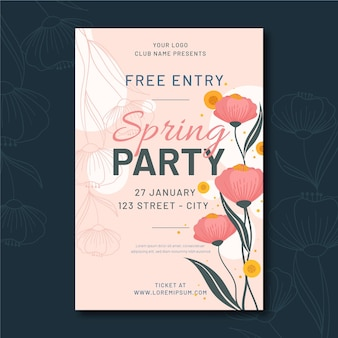 Flat spring party poster template
