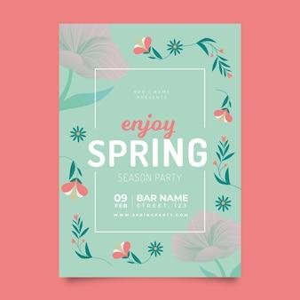 플랫 봄 파티 포스터 템플릿