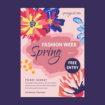 Flat spring poster template