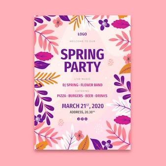 Плоский весенний плакат шаблон