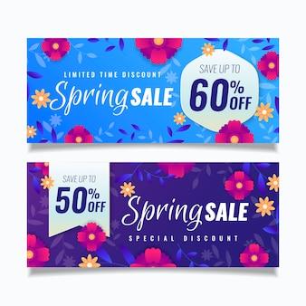 Flat spring sale banner set