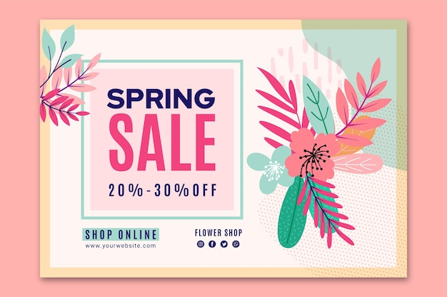Flat spring sale banner template