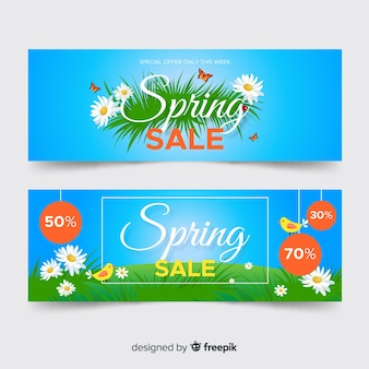 Flat spring sale banners