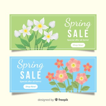 Banner di vendita primavera piatta