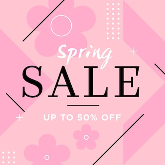 Flat spring sale concept with discount