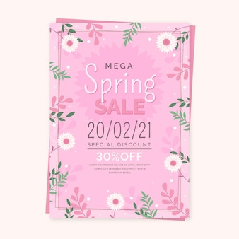 Flat spring sale flyer template with flowers