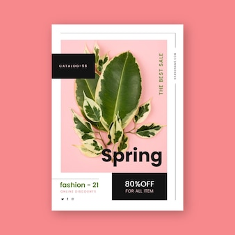 Flat spring sale flyer template with photo