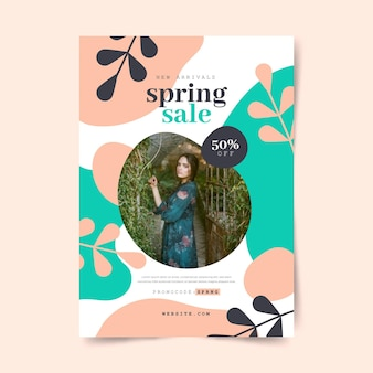 사진이있는 평면 봄 판매 전단지 템플릿