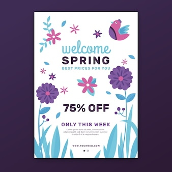 Flat spring sale flyer template