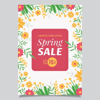 플랫 봄 판매 전단지 템플릿