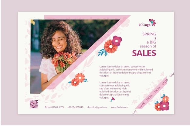 Flat spring sale horizontal banner