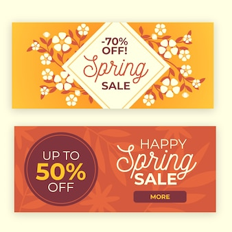 Flat spring sale horizontal banners with discounts