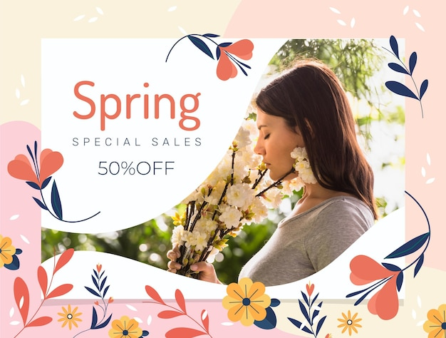 Flat spring sale illustration with woman