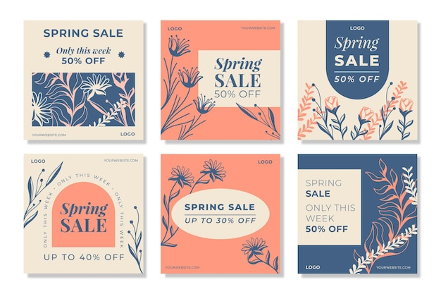 Flat spring sale instagram posts pack