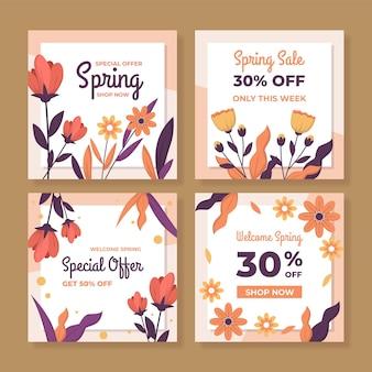 Flat spring sale instagram posts set