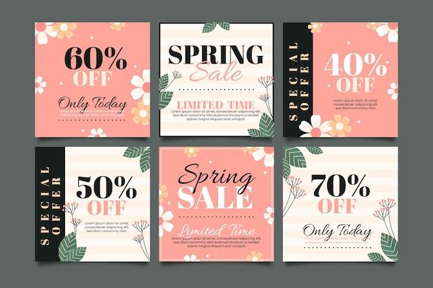Set di post instagram vendita primavera piatta