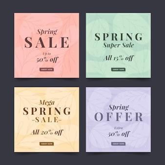 플랫 봄 판매 instagram 게시물 세트
