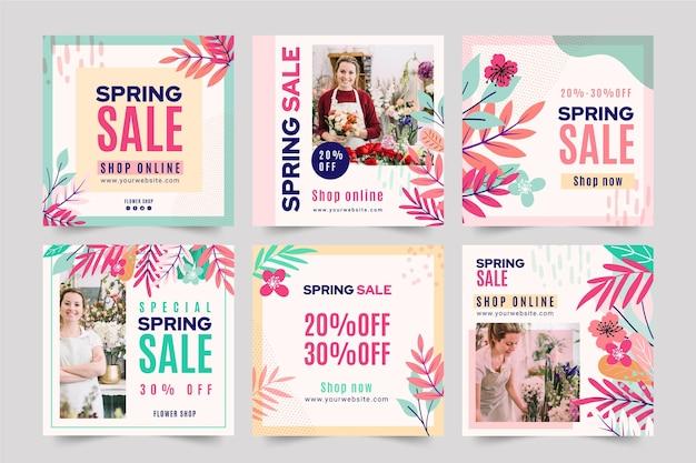 Post di instagram di vendita di primavera piatta