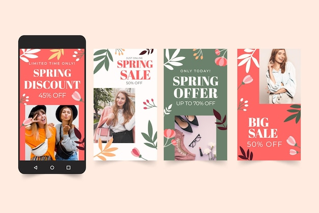 Flat spring sale instagram stories collection