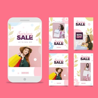 Flat spring sale instagram stories pack