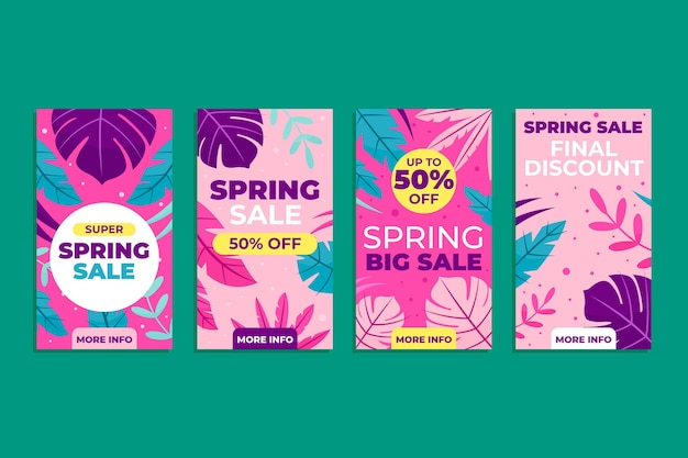 Flat spring sale instagram stories set