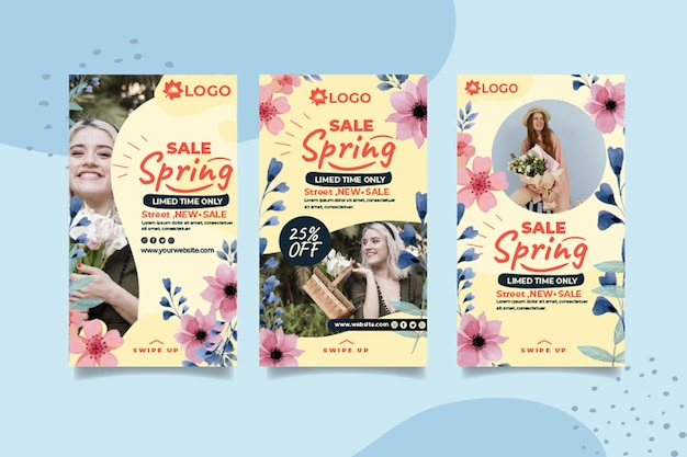 Storie di instagram di vendita primavera piatta