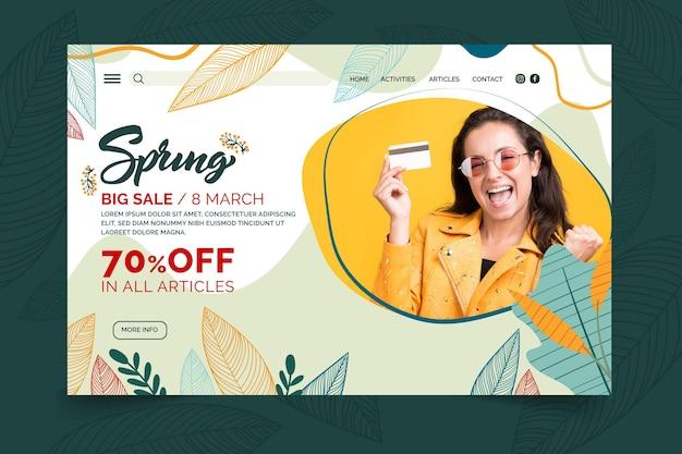 Pagina di destinazione della vendita di primavera piatta