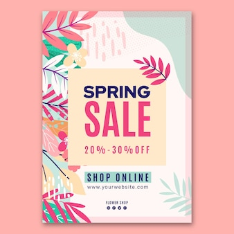 Modello di poster di vendita primavera piatta