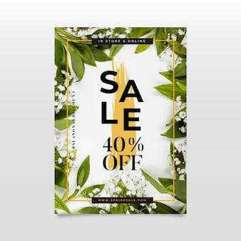 Плоский весенний распродажа постер