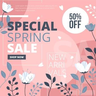 Promo vendita primavera piatta con illustrazioni