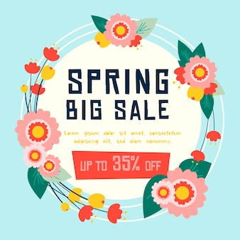 Flat spring sale wreath with flowers and leaves