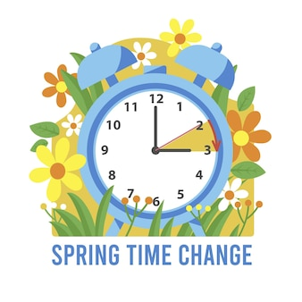 Flat spring time change illustration