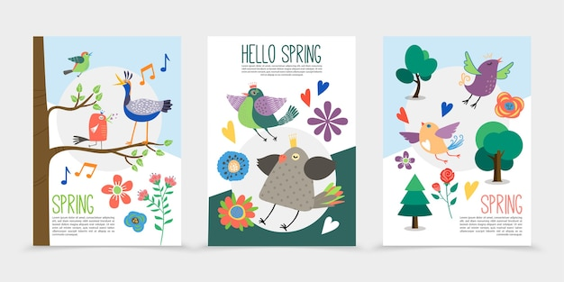 Flat spring time romantic posters with blooming pretty flowers singing birds sitting on tree branches