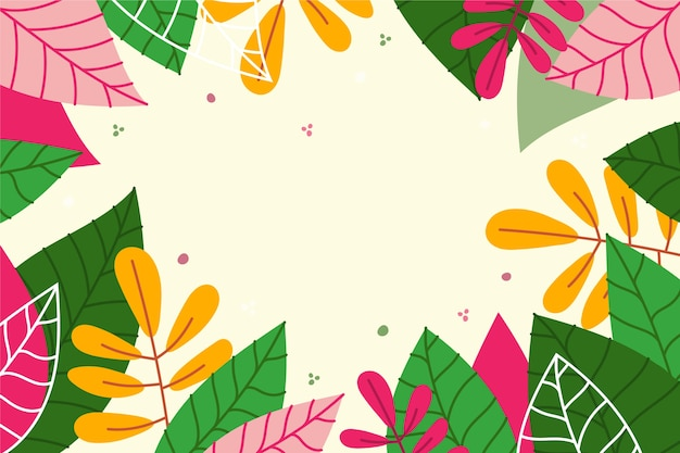Flat spring wallpaper with colourful leaves