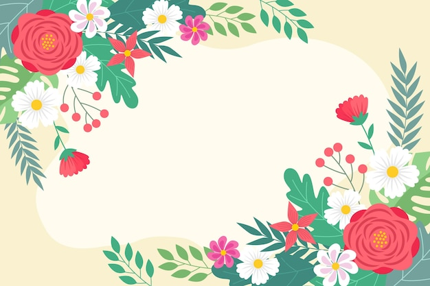 Flat spring wallpaper with empty space