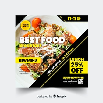 Flat square food photographic banner
