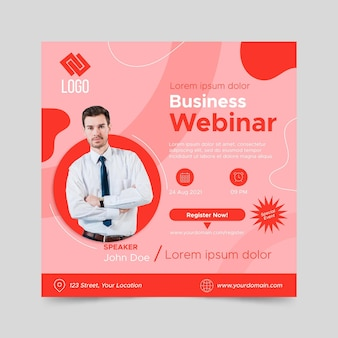 Flat squared flyer business webinar template