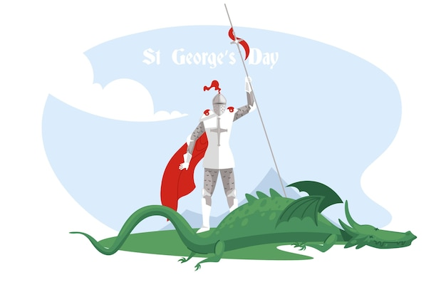 Flat st. george's day illustration with knight and dragon