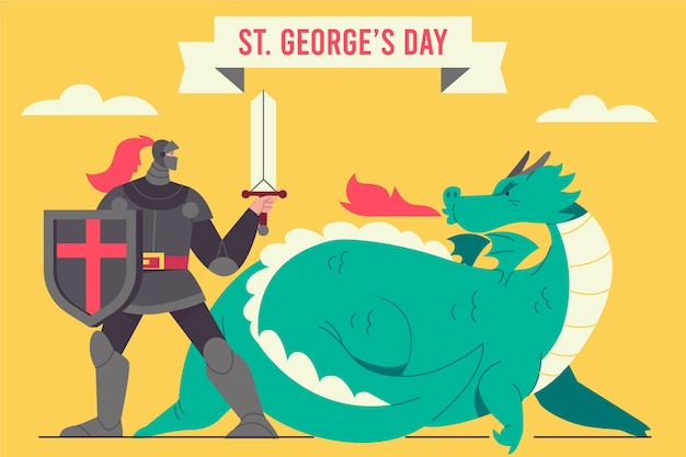 フラットセントジョージの日のイラスト