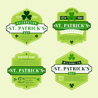 Flat st. patrick's day badge collection