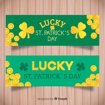 Flat st. patrick's day banner