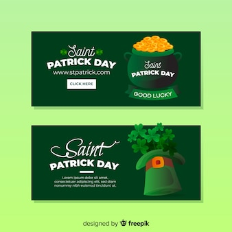 Flat st. patrick's day banners