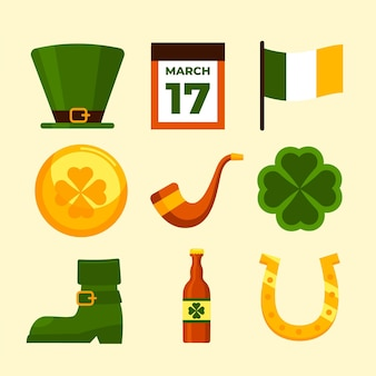 Flat st. patrick's day elements collection