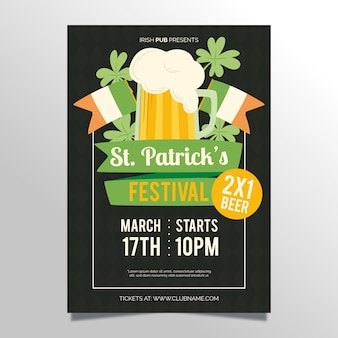 Flat st. patrick's day flyer / poster template with beer
