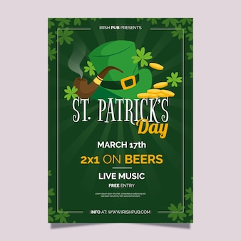 Flat st. patrick's day flyer / poster template with hat