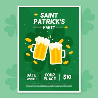 Flat st. patrick's day flyer / poster template