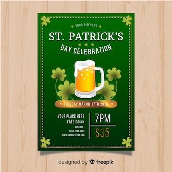 Flat st. patrick's day flyer template