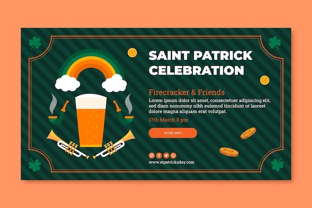 Flat st. patrick's day horizontal banner