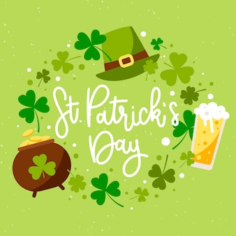 Flat st. patrick's day illustration with cauldron of coins and beer
